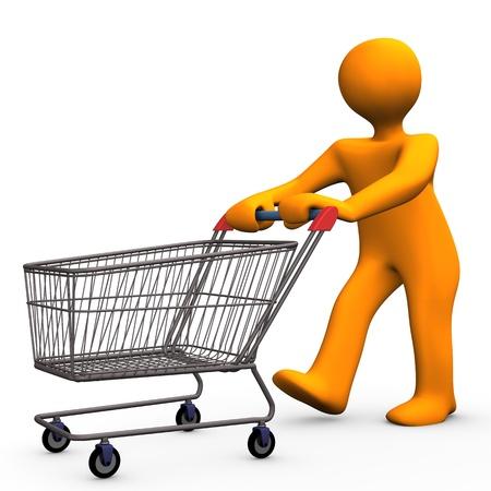 Orange Cartoon-Figur geht einkaufen.