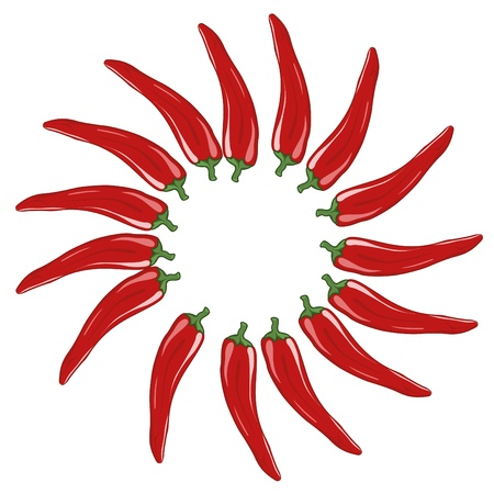 Red chillis on white background. file. Vector