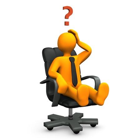 Oranje stripfiguur op fauteuil met vraagteken.
