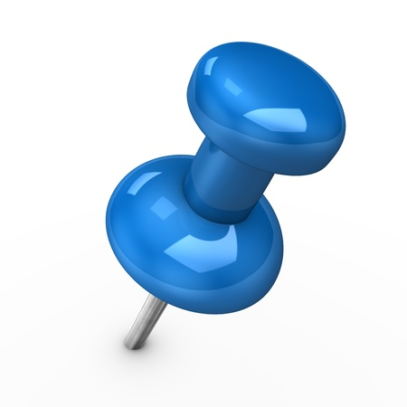 paper fastener: 3d illustration of blue thumbtack on white pinang. Stock Photo