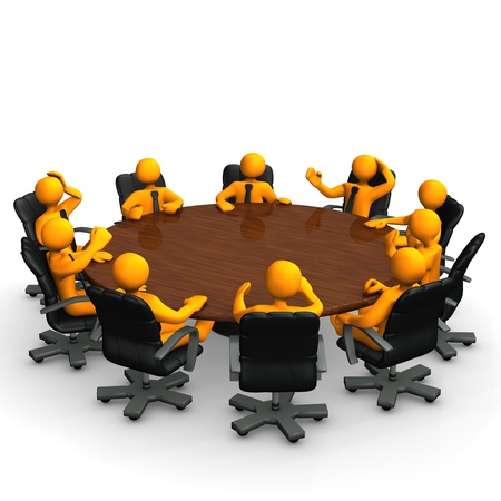 briefing: Orange cartoon characters behind a round conference table. Stock Photo
