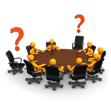 Orange cartoon characters on round table with red question marks. photo
