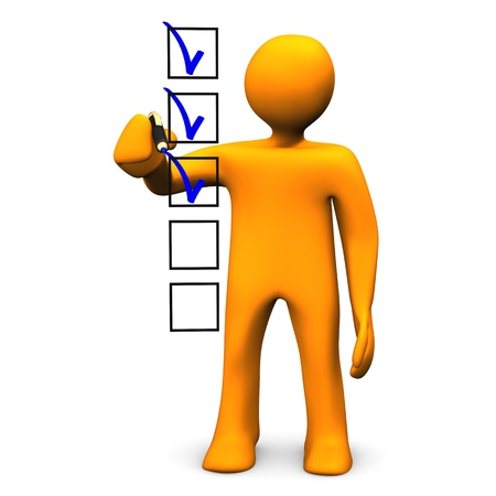 Orange cartoon character makes a checklist, on white background.