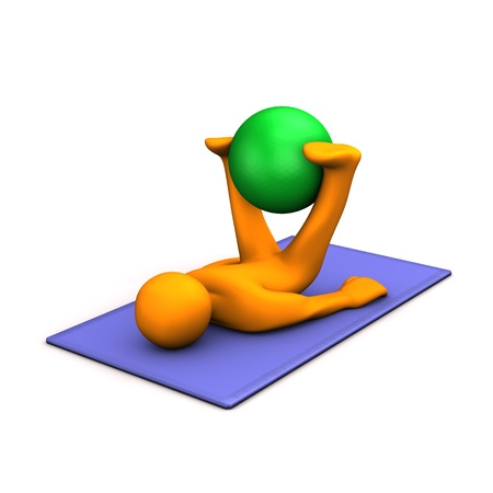 Orange cartoon character makes gymnastics with medicine ball on blue mat. photo