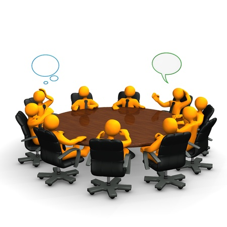 round table conference: Orange cartoon characters behind a round conference table. Stock Photo