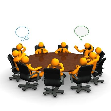 Oranje stripfiguren achter een ronde vergadertafel.