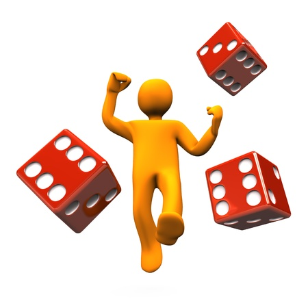 dices: Orange cartoon character with red casino dies. Stock Photo