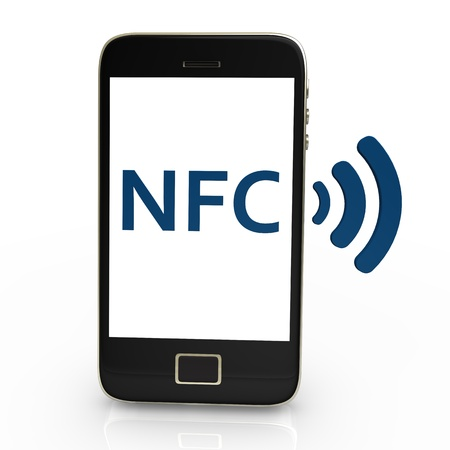 nfc: Black smartphone with white NFC Symbol,on white background.