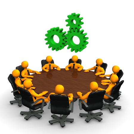Orange cartoon characters with green gear wheels on the round table.