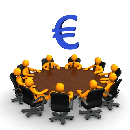 Orange toon characters with european currency symbol on the round table. photo
