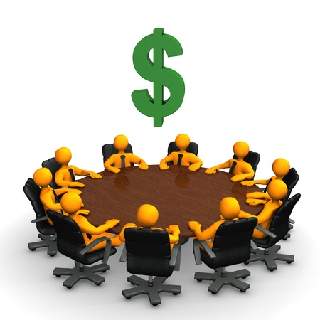 sales meeting: Orange toon characters with dollar currency symbol on the round table.