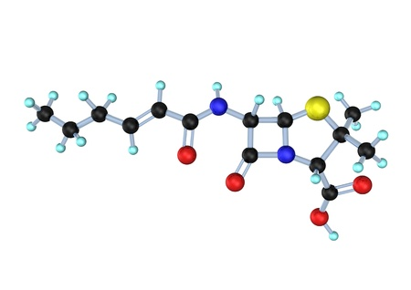3d-illustration of penicillin f molecule on the white background. illustration