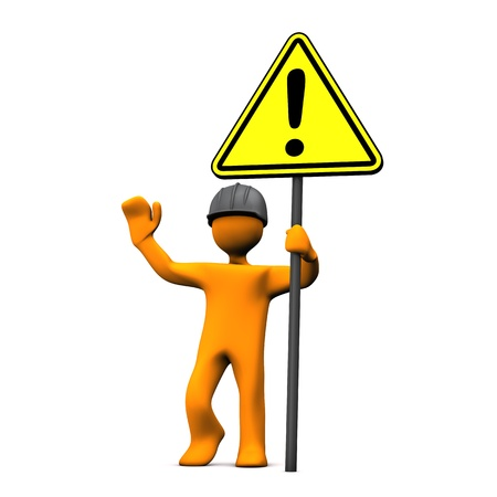 Orange cartoon character with hardhat and attention sign. photo