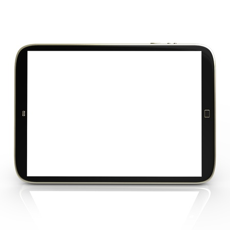Pad tablet with white screen on the white mirror. photo