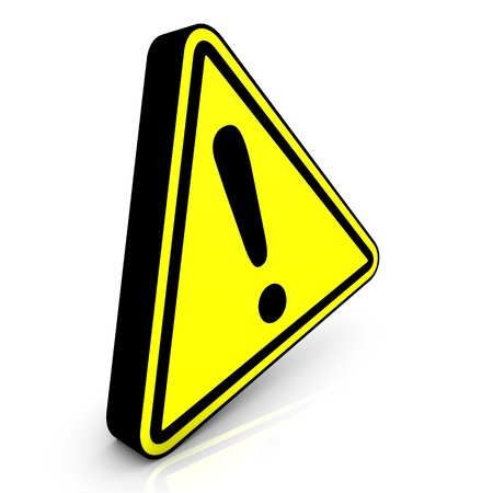 informational: Yellow attention sign on the white mirror. Stock Photo