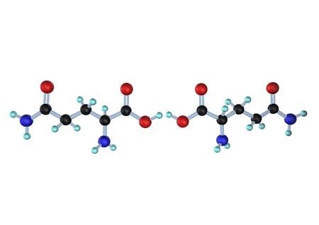 rna: Molecule of L-Glutamine and D-glutamine on the white background.