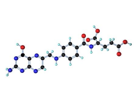 biotin: Molecule of Vitamin B9, folic acid, on the white background.