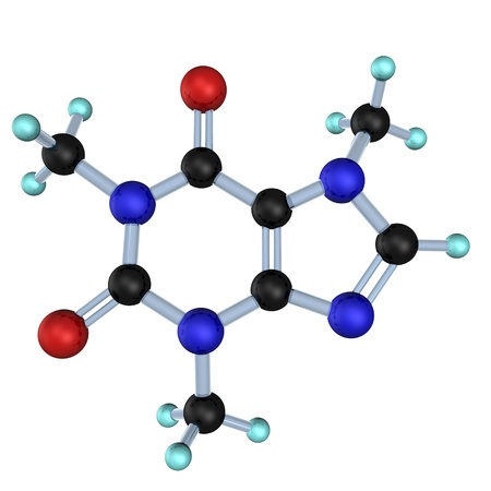 alkaloid: Molecule of caffeine on the white background.