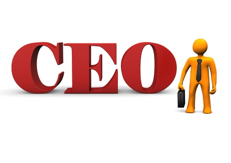 chief executive officers: Orange cartoon character with black tie and red text