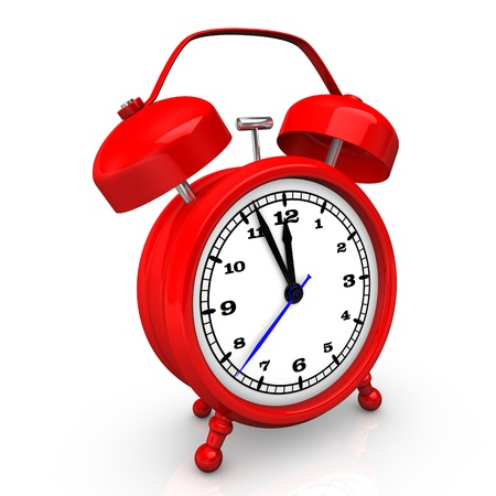 alarmclock: Illustration of the red alarmer on the white background.