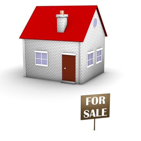 House on the white background with signboard  for sale