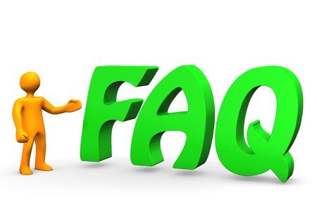 Orange cartoon character with big green text  FAQ Stock Photo - 12833298