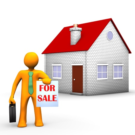 property for sale: Orange cartoon character with house on the white background  Stock Photo