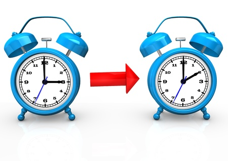 time change: Time change to standard time with blue alarmer on the white background