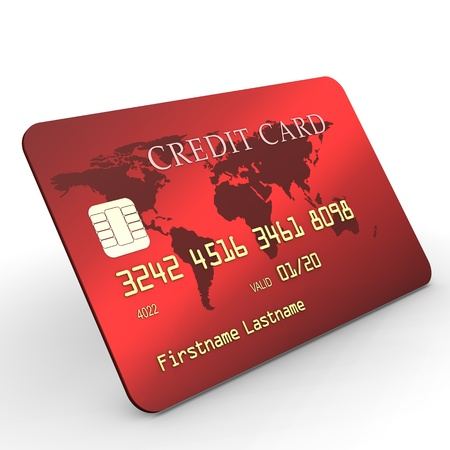 e card: Red credit card with golden text on white background  Stock Photo