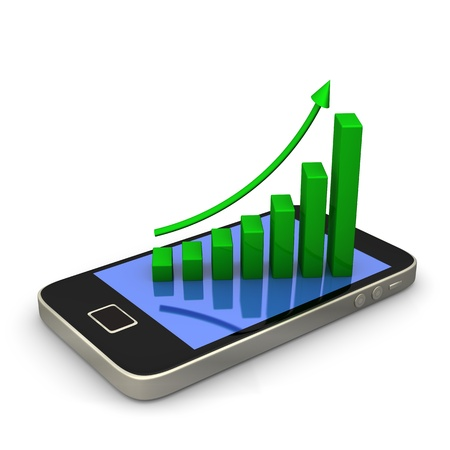 stockmarket: Smartphone with green chart on white background