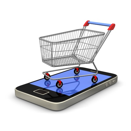 e commerce: Smartphone with shopping cart on white background  Stock Photo
