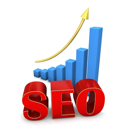 Red text SEO with blue chart and golden arrow photo