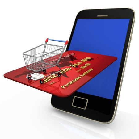 Smartphone with shopping cart and credit card on white background  photo