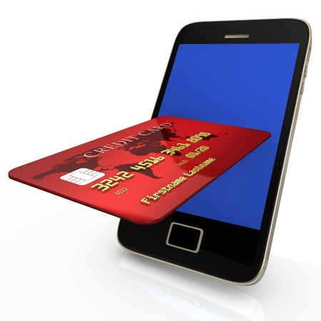 Red credit card with smartphone on white background  photo