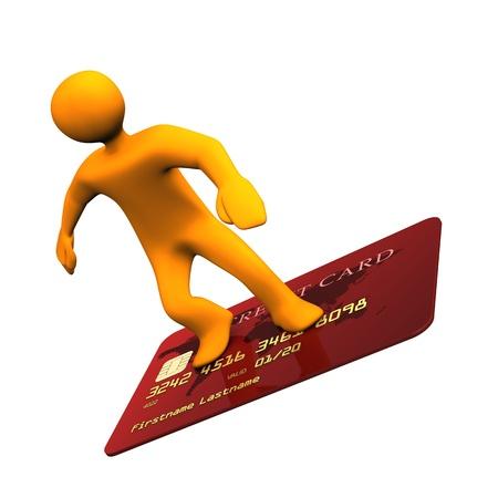 orange man: Orange cartoon character on the credit card
