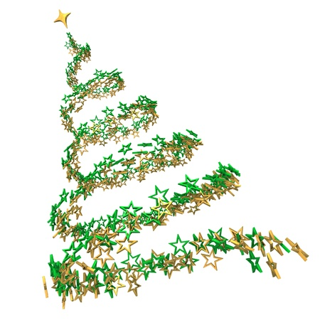 Christmas tree with green and golden stars on the white background  Stock Photo - 13135745