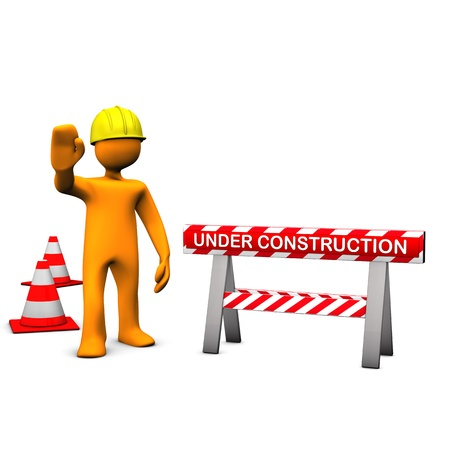 Orange cartoon characters with helmet on the construction site  Stock Photo - 13248399