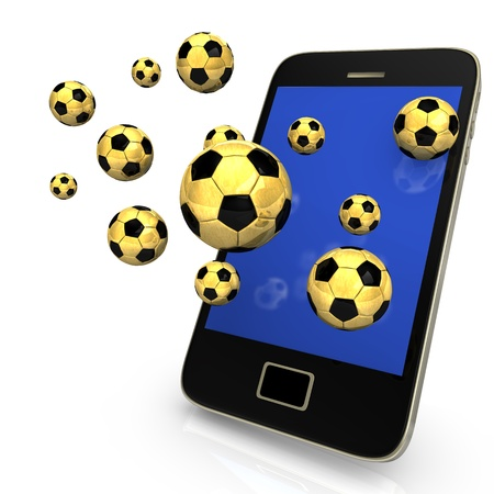 sports app: Smartphone with many golden footballs on the white background  Stock Photo