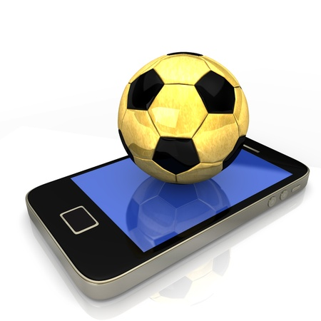 Smartphone with golden football on the white background  photo