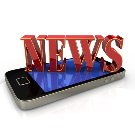 Text  News  in red and golden colors on smartphone  photo