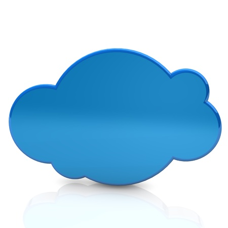 Illustration of the blue cloud on the white background