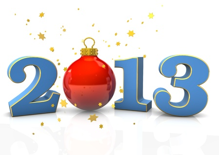 Text  2013  with christmas bauble and stars on the white background  photo