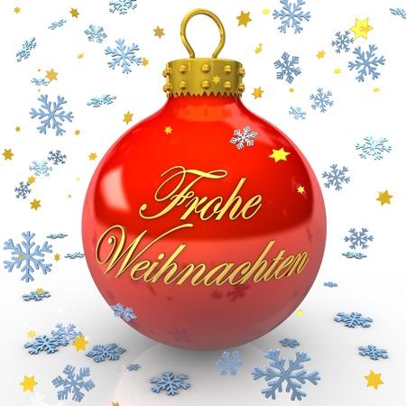 weihnachtsbaum: Rote Weihnachtskugel mit dem Text  Frohe Weihnachten  und blauen Schneeflocken  Stock Photo