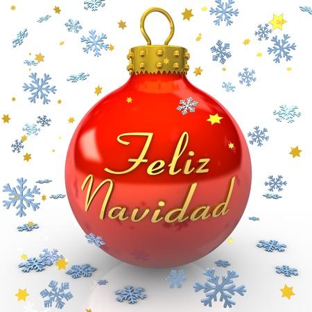 feliz: Pallina rossa con testo Feliz Navidad, fiocchi di neve e stelle su sfondo bianco
