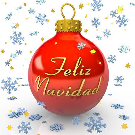Red bauble with text Feliz Navidad  , snowflakes and stars on the white background photo