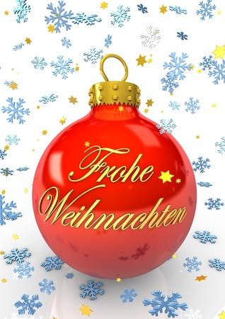Rote Weihnachtskugel mit dem Text  Frohe Weihnachten  und blauen Schneeflocken  photo