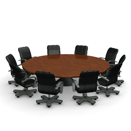 boardroom meeting: Round conference table with a lot of swivel armchairs on the white background  Stock Photo