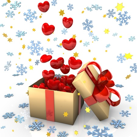 Open cardboard box with red hearts, snowflakes and golden stars  photo