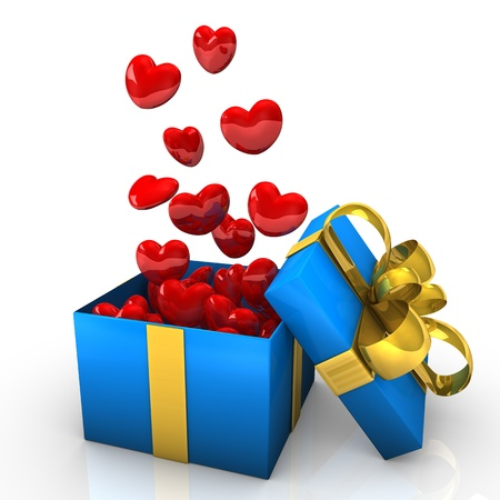 Opened cardboard box with golden ribbons and flying hearts Stock Photo - 13635493