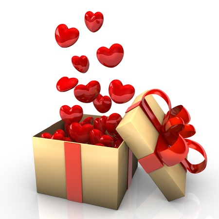 heart gift box: Opened cardboard box with red ribbons and flying hearts
